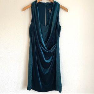 Aidan Mattox emerald green silk & velvet dress